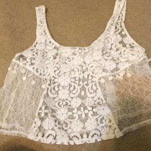 White Lace Crop top